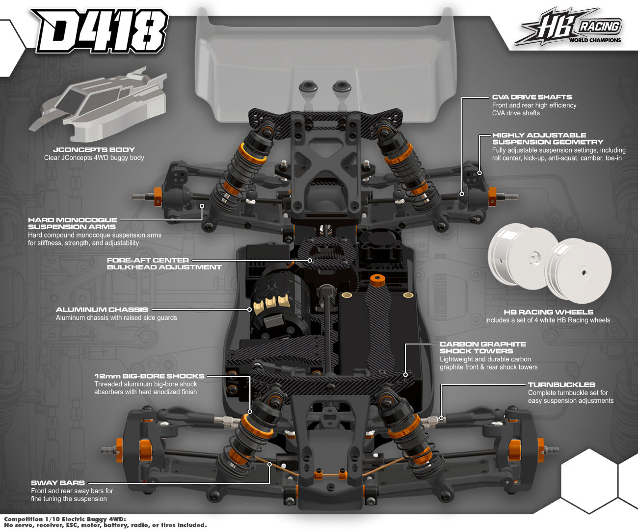 HB RACING D418 1/10 Competition Electric Buggy 4wd